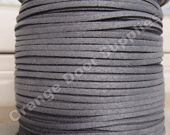 5 yards Charcoal Grey Suede Lace  3 x 1.5 mm - 15 feet (145)