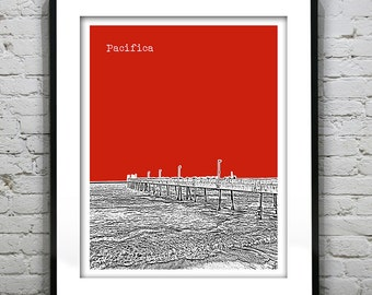 Pacifica Skyline Poster Print Art California CA Pier Version 2