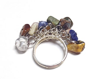 Agate ring, multi-color agate ring