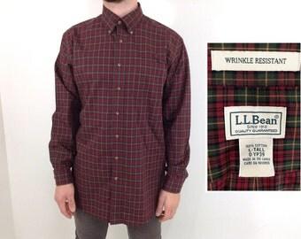 Vintage LL Bean Red & Green Plaid Men's Tall Button-Down Shirt