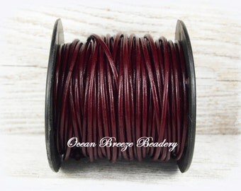 2mm Leather Cord . 9 feet . Granada . Deep Burgundy
