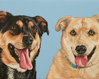 Original Custom Pet Portrait, 12x24 Painting of Mutiple Dogs, Rottweiler Portrait, Yellow Labrador Art, Custom Pet Portrait of Two Dogs
