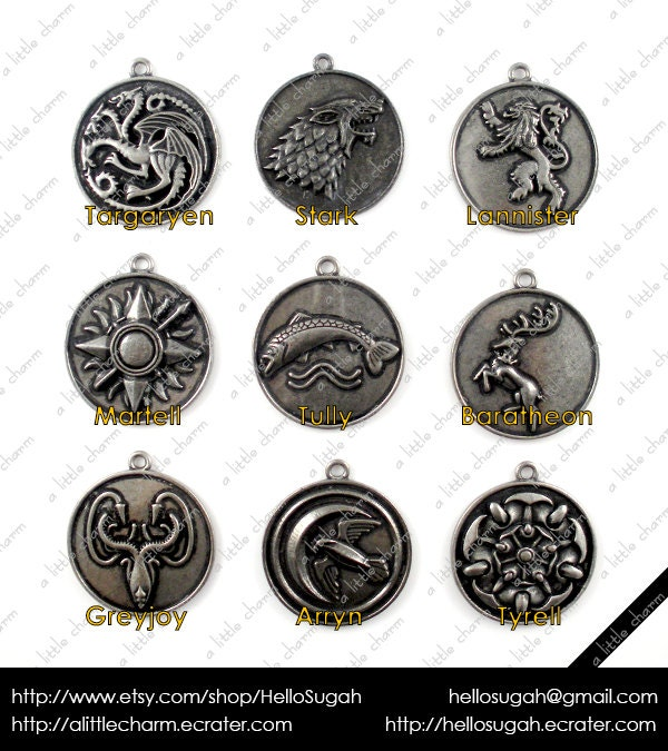 Game of Thrones House Sigil Medallion Pendants or Key Chain