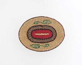 Vintage round straw box // straw basket with lid