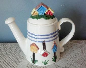 Hand Painted Ceramic Tea Pot with Bird Houses