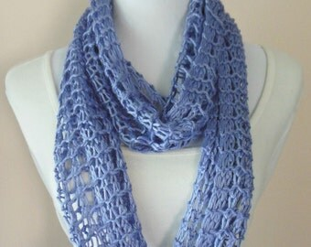 Lavender Lilac Light Purple Infinity Scarf Hand Knit Lacy Open Weave Light Weight Light Purple Lilac Fashion Scarf