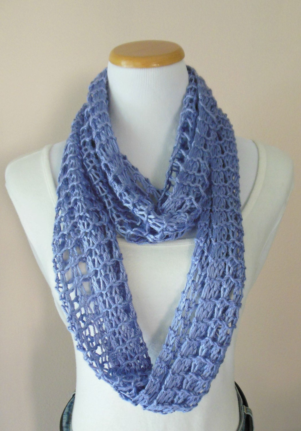 Lavender Lilac Light Purple Infinity Scarf Hand Knit Lacy Open