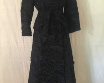 NT Nitsa Furs P. Togas Vintage Black Lamb Fur Coat