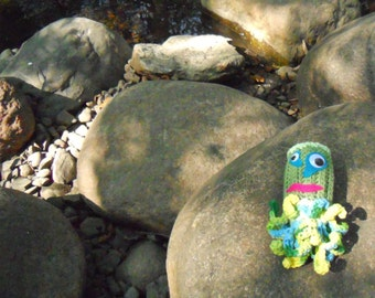 Crocheted Wiggly Eyed Squid Monster Toy