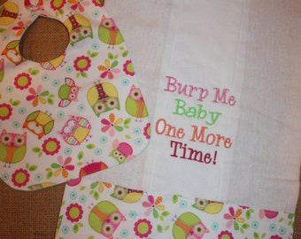 Owl Waterproof Small Bib & Burp Cloth Set