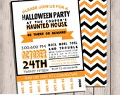 Halloween Invitation, Chevron Halloween Invitation, Printable Invitation Halloween Party, Double-sided, Tear-off Countdown, Halloween Kids