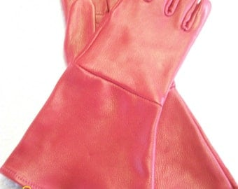 Red Deerskin Leather gauntlet gloves - made in the USA