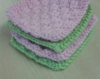Knitted Coasters, handmade coasters, coasters, pack of 4
