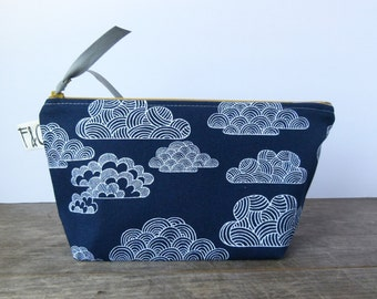 Indigo Clouds Organic Canvas Cosmetic Bag, Bridesmaid Gift, Holiday Gift, Navy Canvas Pouch, Pencil Case, Navy Toiletry Bag, Travel Bag