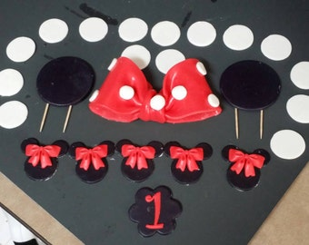 Minnie Mouse Inspired fondant ears and bow birthday cake topper and accessories kit