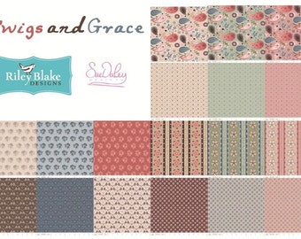 Twig and Grace by Sue Daley Designs for Riley Blake FREE SHIPPING Fat Quarter Bundle