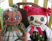 Primitive Handmade Dolls - Fall Doll - Christmas Doll - Pumpkin Pie and Ice Cream - Set of Two