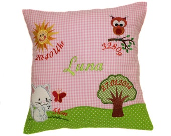 Pillow with request name and born data (DK01)