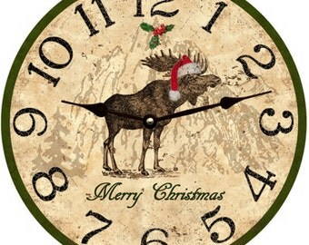 Christmas Moose- Merry Christmas Moose Clock
