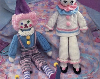 "Crochet CUTE TOY CLOWNS (2) Pattern Book - 16"" and 21"" high - 4 Ply Yarn - Soft Stuffed Toys - Kenyon Hard Copy Not a Pdf Original"