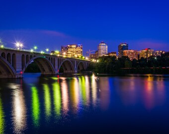 The Key Bridge over Potomac River and Rosslyn skyline seen from Georgetown, Washington, DC - Photography Fine Art Print or Wrapped Canvas