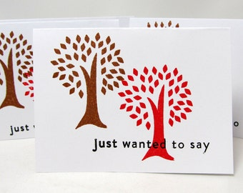 Small Note Cards - Set of 4 Cards - Just Wanted to Say - Autumn Theme - Red and Brown - Blank Card - Hand Stamped - Trees - Note Card Set