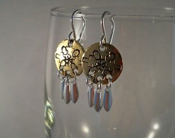 Hand Stamped Brass Earrings with Sterling Silver Ear Wires