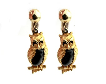 Vintage Owl Dangle Clip On Earrings