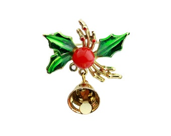 Enamel Christmas Holly Berry Brooch