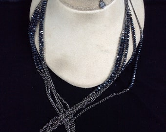 Vintage Long Multi Stranded Irridesent Black Glass Beaded Necklace