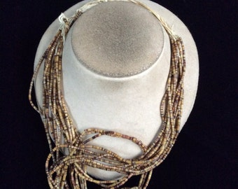 Vintage Multi Strands Shades Of Brown Glass Beaded Necklace