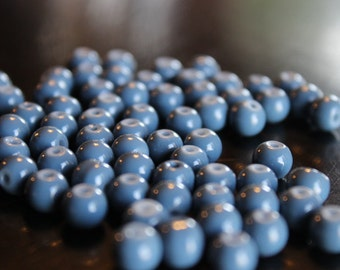70 glass beads, 6 mm blue slate round and smooth, bubblegum style beads, baking painted