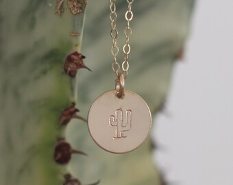 Gold Fill Cactus Necklace, Gold Southwest Necklace, Dainty Cactus Necklace, Cactus Stamp Necklace, Gold Hand Stamped Saguaro Necklace,