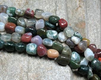 "Fancy Jasper & Agate Nugget Beads, 15.5"" strand - Item B0471"