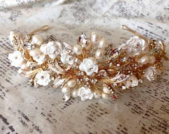 Wedding Tiara, Wedding Headpiece, Wedding Hair Piece, Wedding Hair Accessories, Wedding Headband Gold, Wedding  Headband Pearl