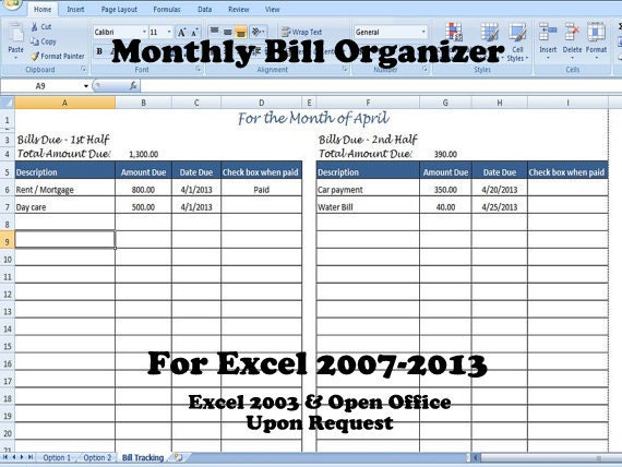 home finance bill organizer template - monthly bill organizer bill tracker calculates total due
