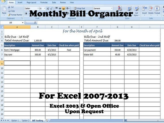 Monthly Bill Organizer Bill Tracker Calculates Total Due