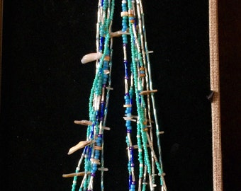 NATIVE AMERICAN TURQUOISE Heishi Fetish Necklace