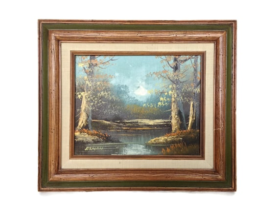 Vintage oil on canvas painting sunset over stream in the woods signed
