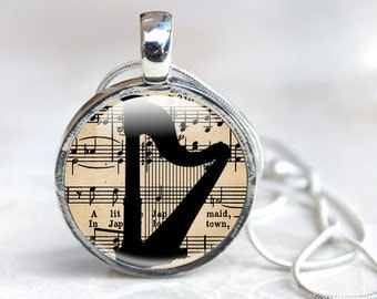 Harp Jewellery, Harp Necklace, Music Necklace, Music Gifts for her (music 5)