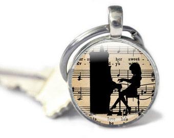 Piano Key Chain, Music Keychain  - Piano Metal Keychain - Pianist Gift - Piano Gifts Keyring