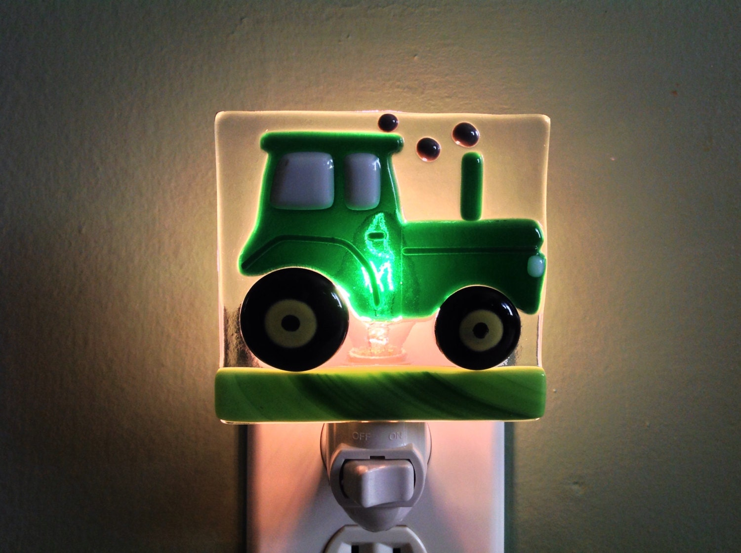 Fused Glass Tractor Boys Night Light