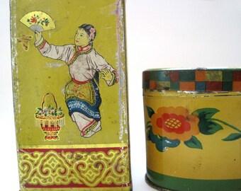 2 Antique Yellow Tin Boxes, Oriental Vintage Tea Tin, Swedish Candy Tin, Karameller, Man Gift, Storage Organization Vintage Kitchen Canister