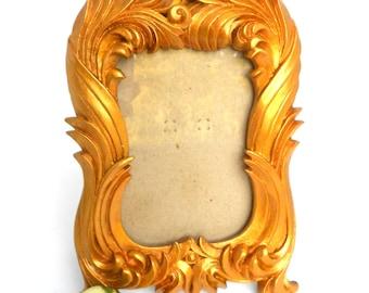 Gold Leaf Picture Frame,4 x 6 Photo Frame,Decorative Photo Frame,Antiqued Gold Picture Frame,Rectangular Gold Picture Frame,Gold Frame 4x6
