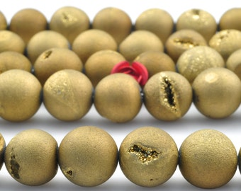 37 pcs of Titanium Coated gold colour Agate,matte round beads in 10mm