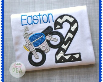 Personalized Dirt Bike Applique Shirt - Boys Birthday - Dirt Bike - Motorcycle - Applique shirt - Boys Birthday Shirt
