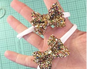 small glitter bow - newborn bow - itty bitty
