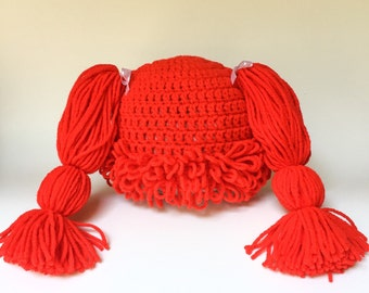 Cabbage Patch Hat, Cabbage patch wig, crochet cabbage patch, red