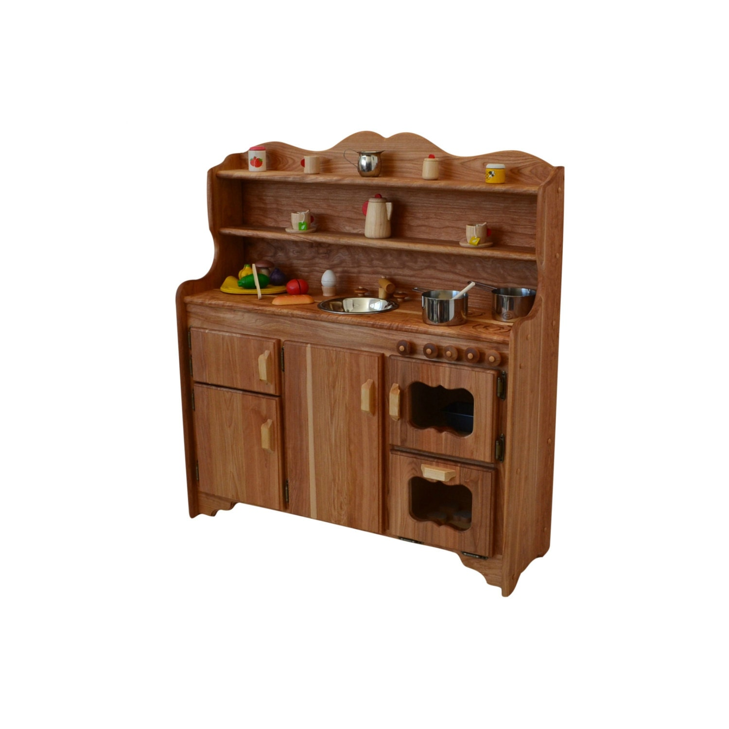 Waldorf wooden toy kitchen hardwood play stove