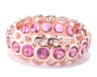 14KT Rose Gold 3.56ctw Pink Tourmaline Eternity Ring